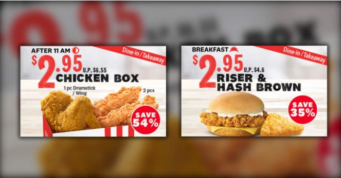 KFC - 54% off Chicken Box and 35% off Breakfast Deal for dine-in takeaway orders till 30 May 2021