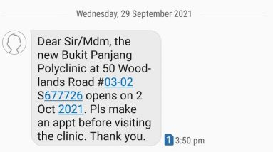 Bukit Panjang Polyclinic is Opening on 2 October 2021